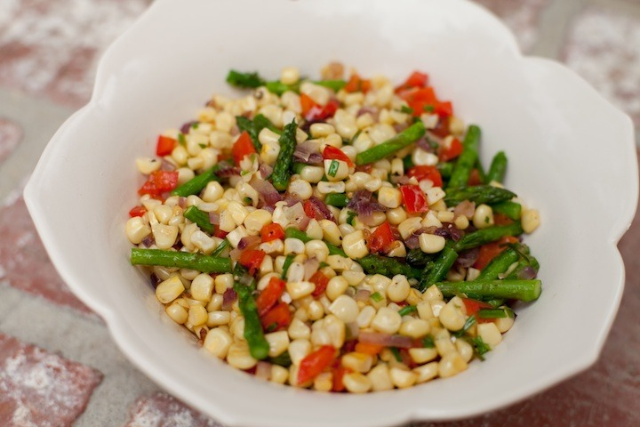 Corn Off the Cob with Red Bell Peppers and Asparagus