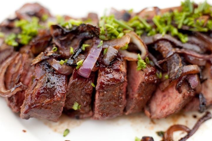 Tri-Tip with Pomegranate BBQ Sauce and Caramelized Onions