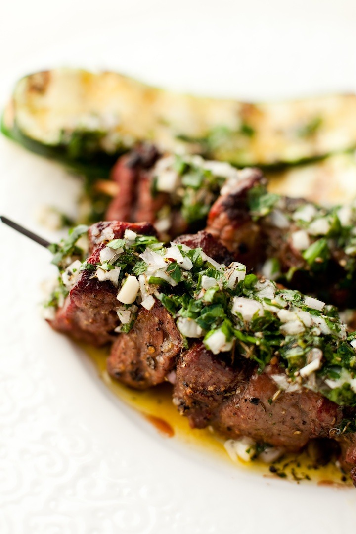 How could you not love Argentinian Beef Kabobs grilled to perfection and slathered with flavorful chimichurri sauce? Your family and friends will love them too... if you share!