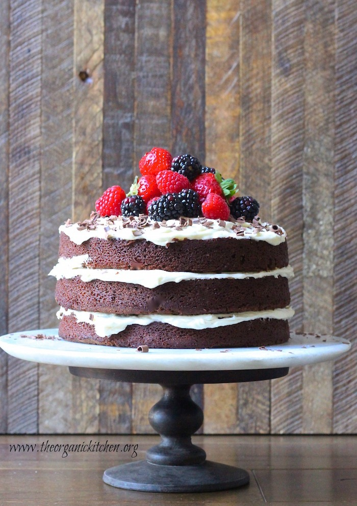 Triple Layer Double Chocolate Cake on Cake plate