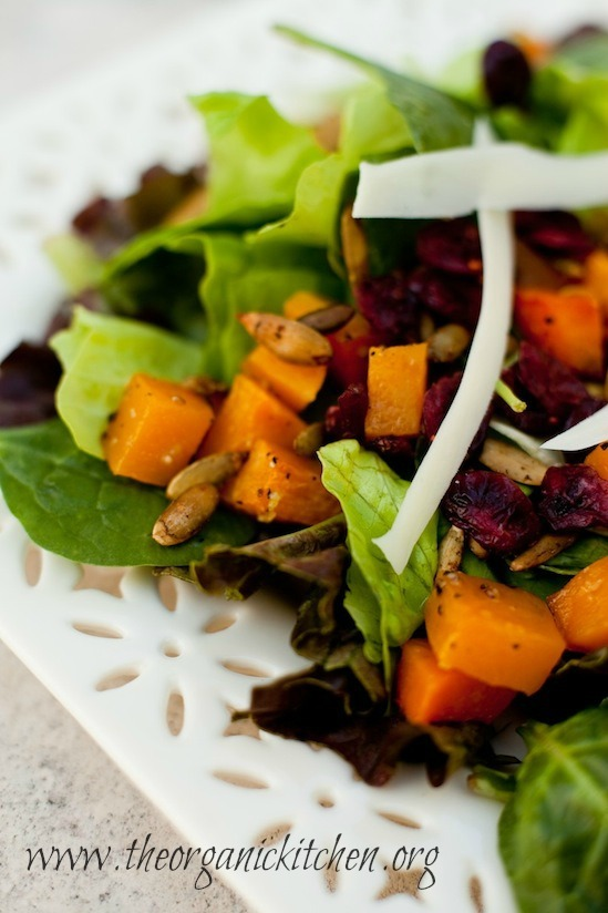 Fall Greens with Roasted Butternut Squash and Spicy Pepitas from The Organic Kitchen