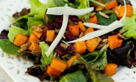 Fall Greens with Roasted Butternut Squash and Spicy Pepitas