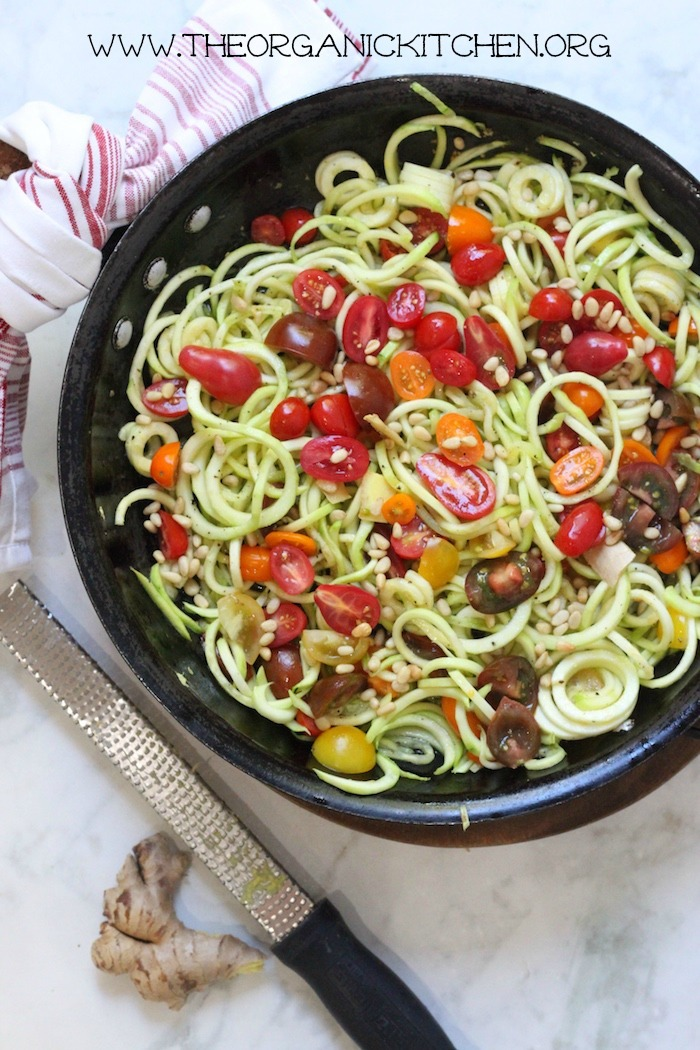 Zucchini Noodles with Ginger and Tomatoes- Paleo- Whole 30- Vegan