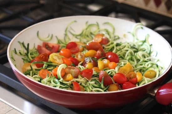 Zucchini Noodles and Tomatoes