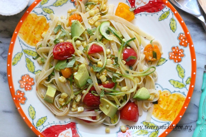 Vegetable Fettuccine with Heirloom Tomatoes, Zoodles and Avocado