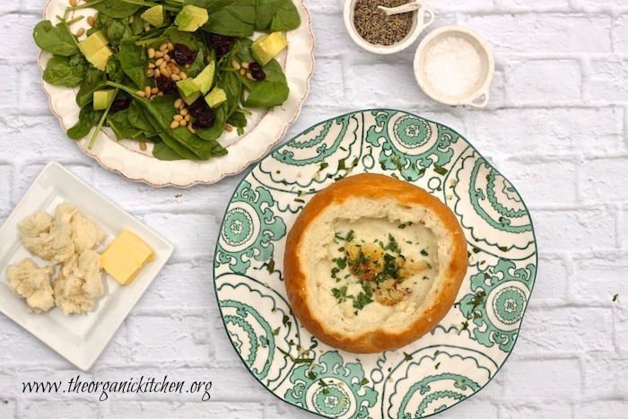 Roasted Cauliflower Soup and Spinach Salad ~ Casual Friday Menu