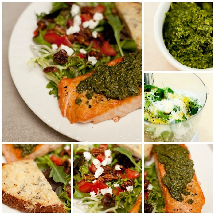 Pesto Salmon with Simple Greens and Crispy Parmesan Bread