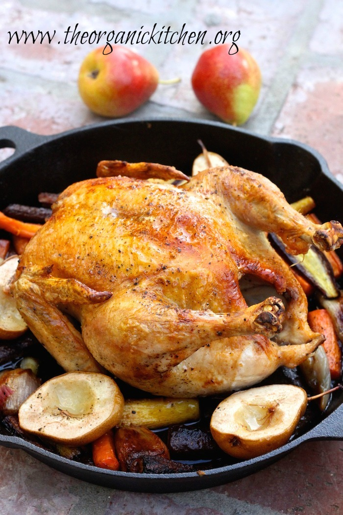 Roasted Skillet Chicken with Honey Glazed Carrots and Pears