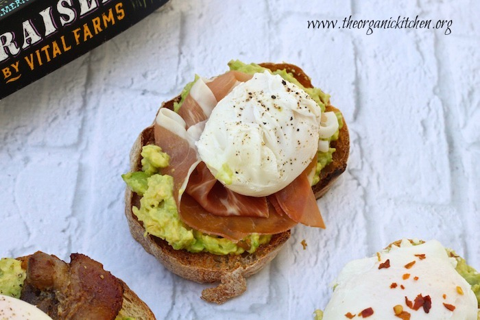 Avocado Toast with Perfectly Poached Eggs with prosciutto