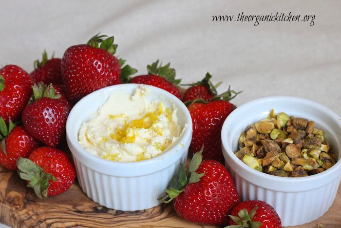 Strawberries with Lemon Mascarpone and Pistachios