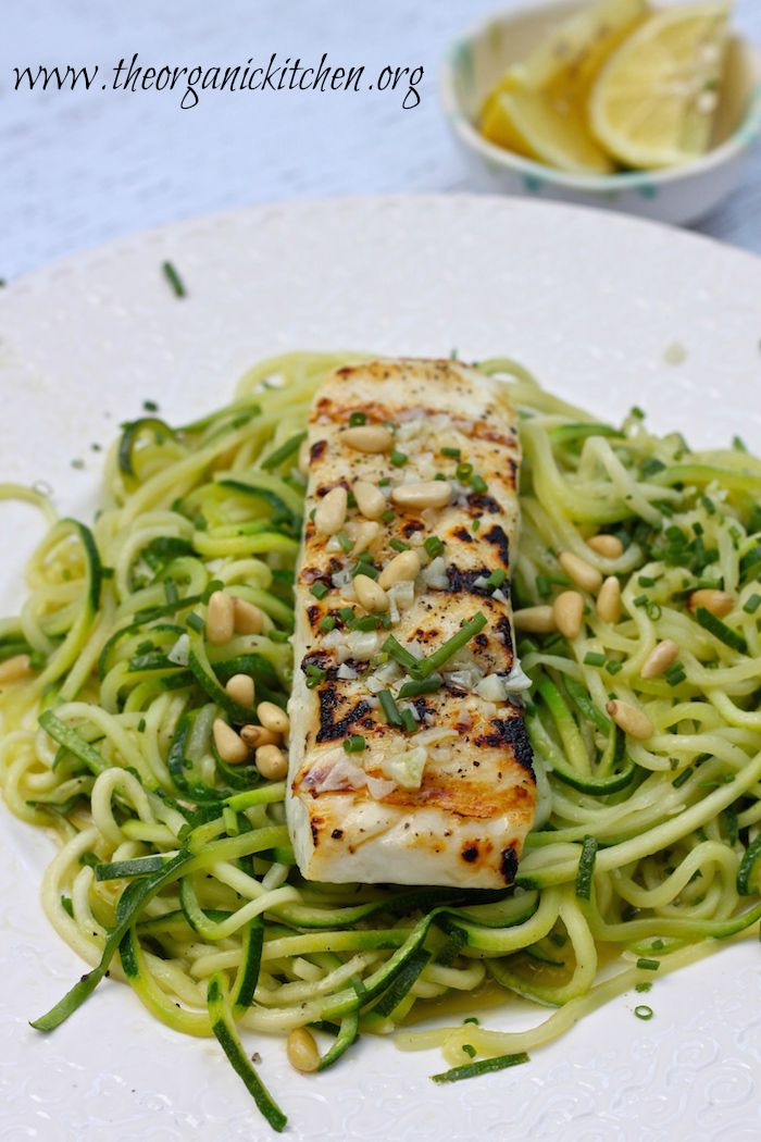This Lemon Butter Halibut with Zoodles can be made in 15 minutes! Both the halibut and the zoodles take less than 5 minutes to cook.