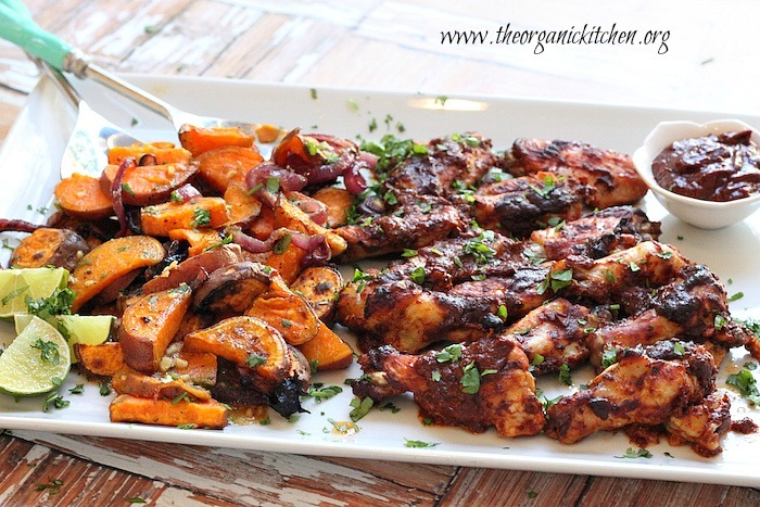 Chipotle Roasted Chicken Wings with Sweet Potatoes and Salsa Verde!