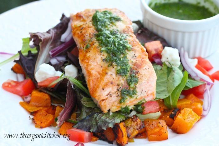Fall Salmon Salad with Basil Vinaigrette