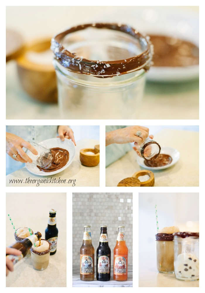 Root Beer Float in Mason Jar with Chocolate and Sea Salt Rim
