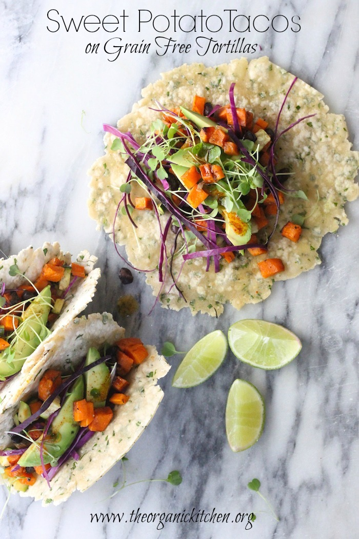 Sweet Potato Tacos with Grain Free Herbed Tortillas!
