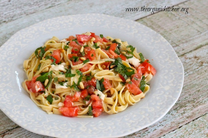 Fettuccine with Tomatoes and Burrata Cheese! Grain free option too.