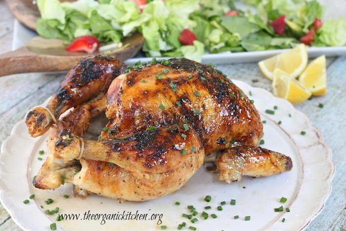 Amazingly Easy Roasted Chicken with Lemon Honey Glaze