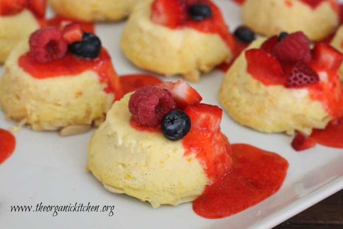Lemon Vanilla Ricotta Cheesecake with Strawberry Coulis (gluten and grain free)