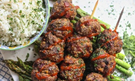 Grilled Bacon Sriracha Meatball Skewers with Coconut Rice!