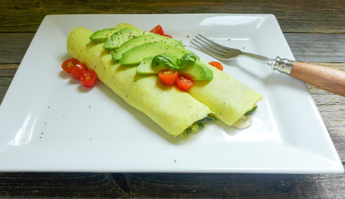 Two crepes topped with avocado and tomatoes on white plate as part of 12 Healthy, Delicious (Whole 30) Breakfast Recipes!