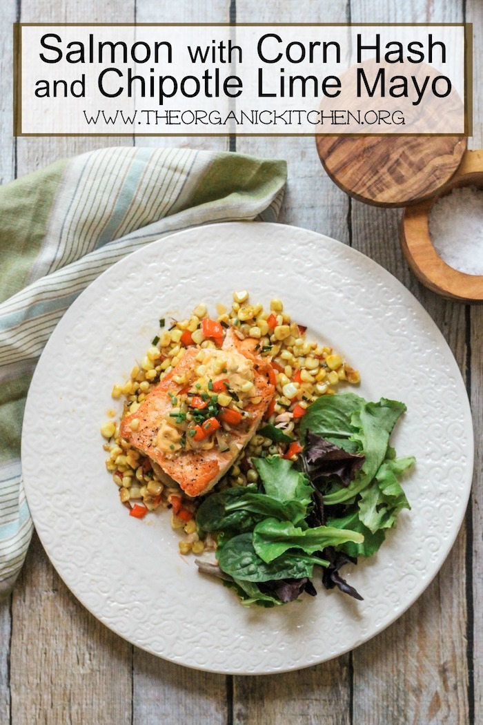 Primal Kitchen Chipotle Lime Mayo salmon with corn hash and chipotle lime mayo! | the organic