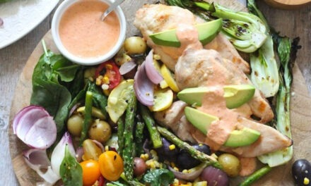Grilled Chicken and Vegetables with Red Bell Pepper Sauce