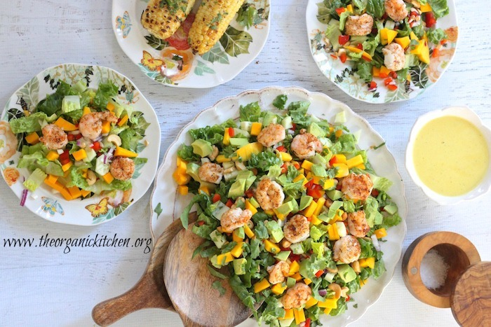 Greens with Grilled Shrimp and Citrus Vinaigrette!