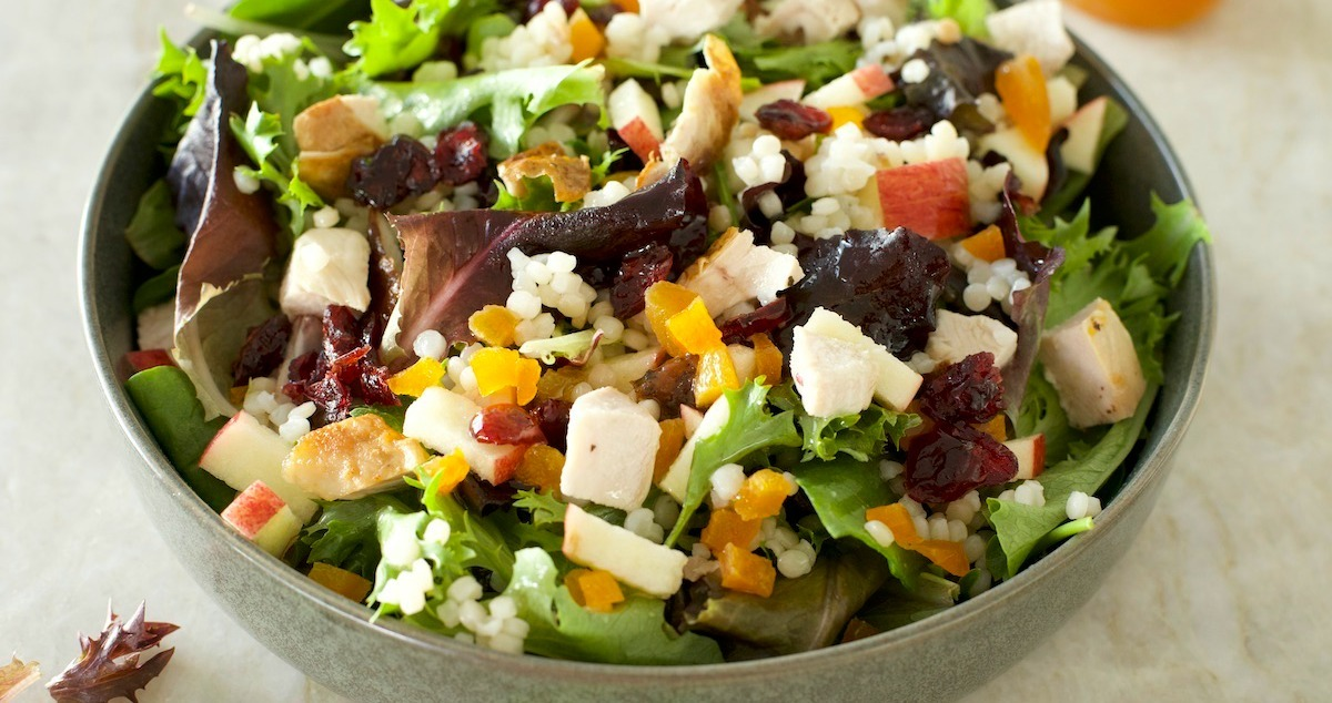 The Harvest Salad Greens Couscous Fall Fruit And Apple Vinaigrette The Organic Kitchen Blog And Tutorials