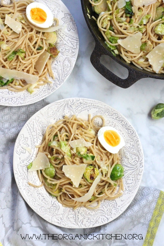 Spaghetti with Brussels Sprouts and Soft Boiled Eggs