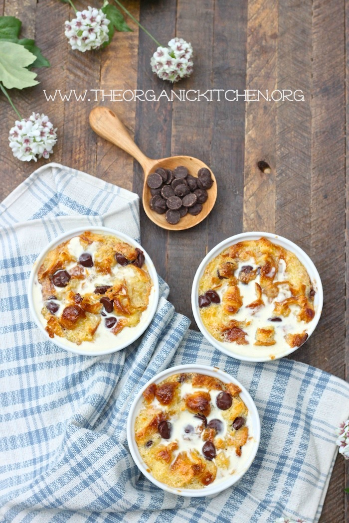 Chocolate Chip Bread Pudding with Vanilla Cream Sauce
