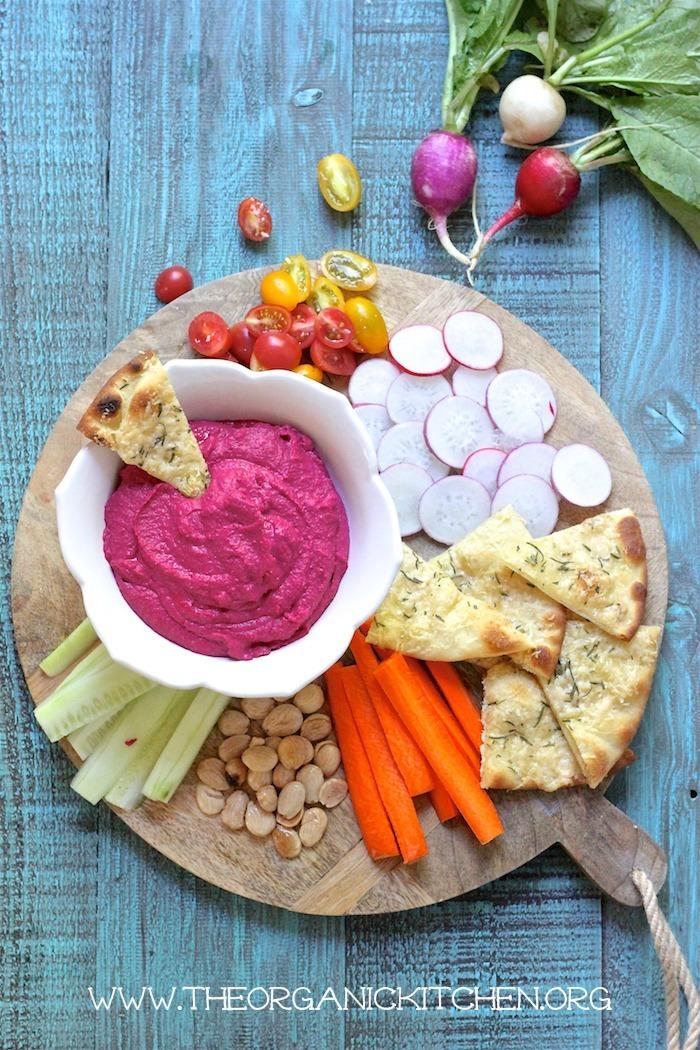 Roasted Beet Hummus Appetizer Platter!