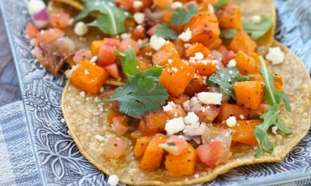 Butternut Squash Tostadas with Chunky Guacamole
