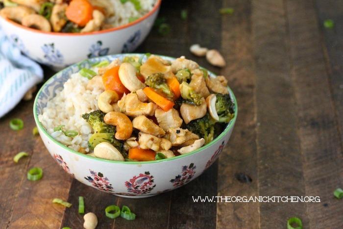 Apricot Cashew Chicken Rice Bowl