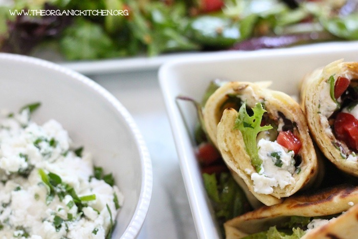 Healthy Grilled Naan Salad Wrap with Herbed Chevre: The Easiest BBQ Menu Ever!