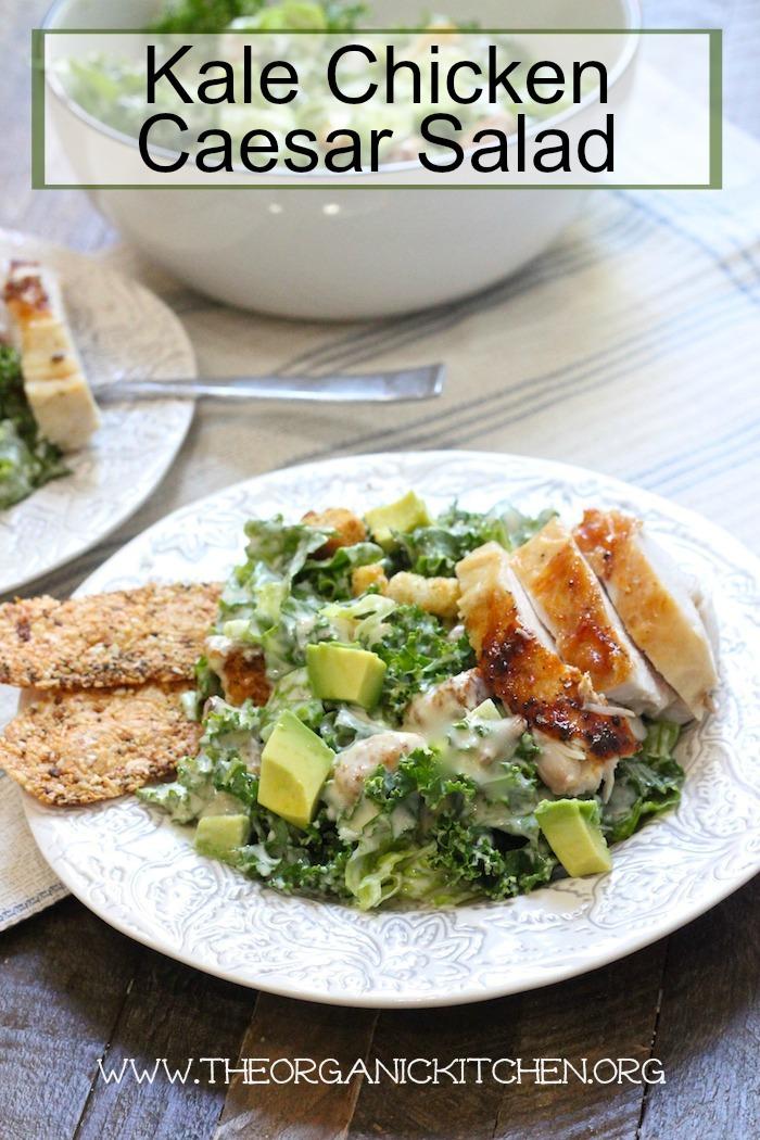 Kale Chicken Caesar Salad (with a Gluten Free Option!)