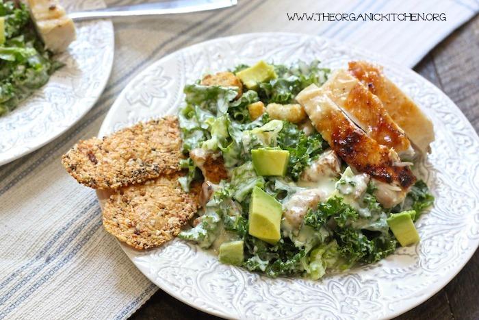 Kale Chicken Caesar Salad (Egg and Gluten Free Option!)