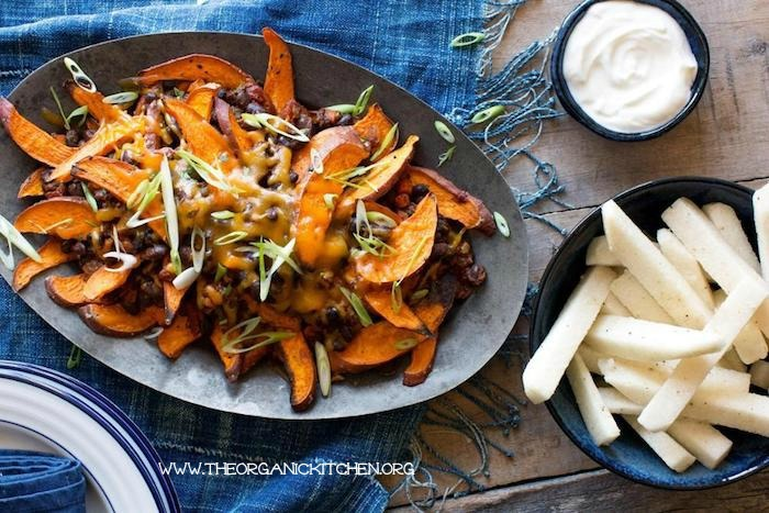 Not only are these simple, delicious and budget friendly, but just look at how amazing these Sweet Potato-Black Bean Chili Cheese Fries look!