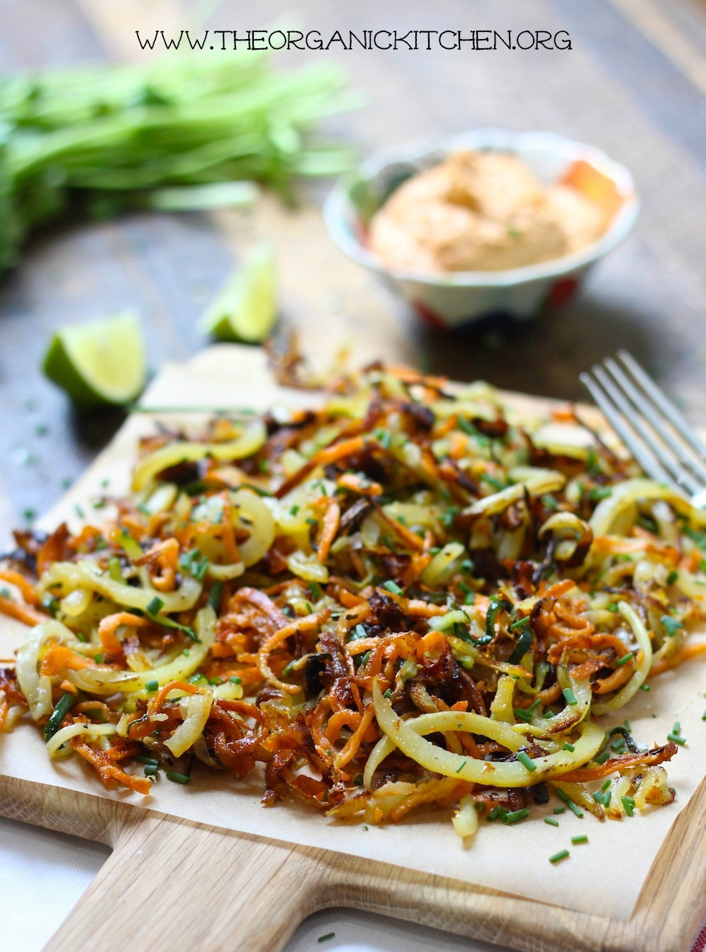 Crispy Spiralized Vegetables with Chipotle Lime Cashew Dipping Sauce! Paleo/Whole 30