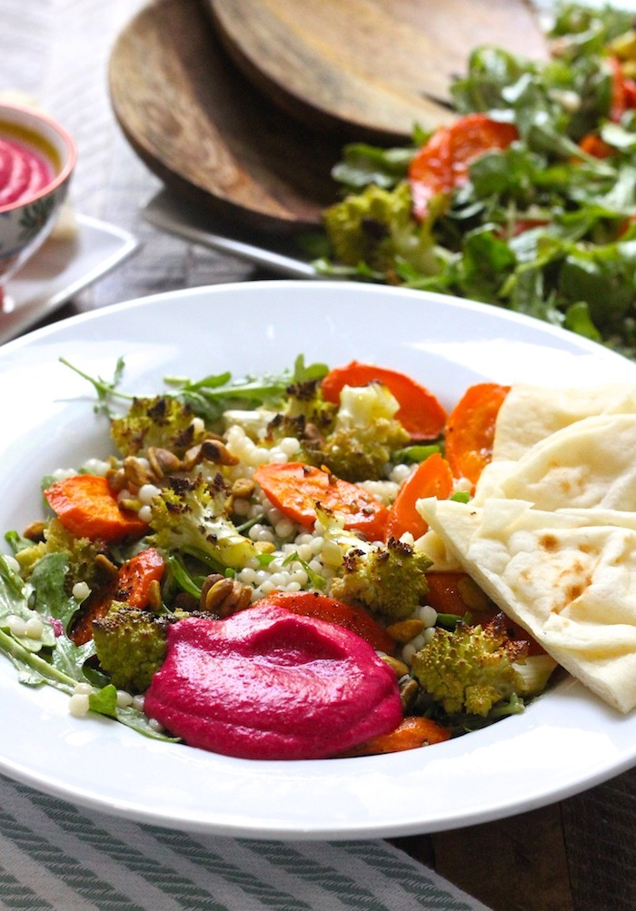 Roasted Carrot and Romanesco Salad with Beet Hummus!