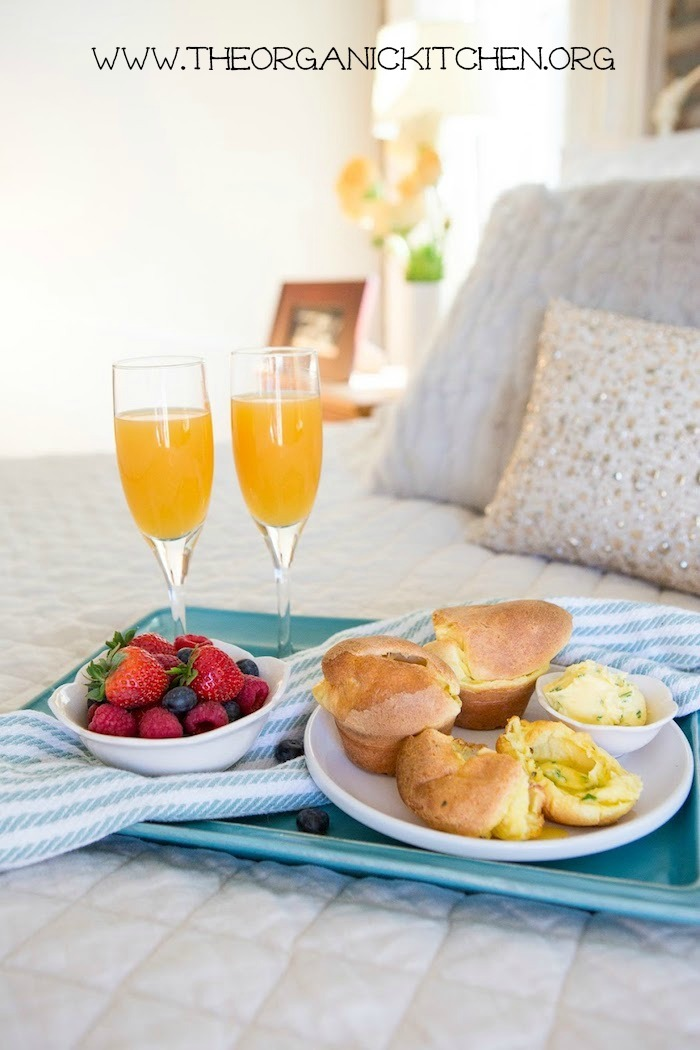 Breakfast in Bed Series: Cheesy Popovers with Chive Butter! Gluten free option