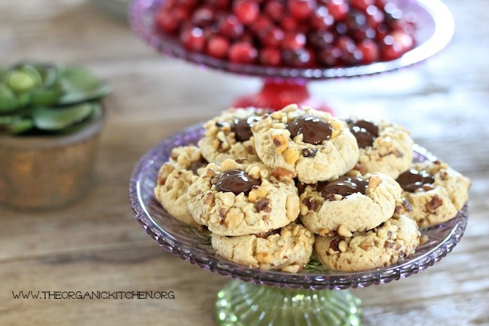 Chocolate Walnut Thumbprint Cookies