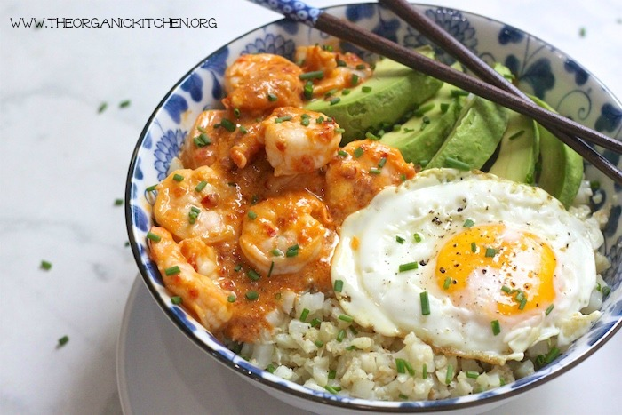 Spicy Shrimp and Cauliflower Rice Bowl: Paleo-Whole 30!
