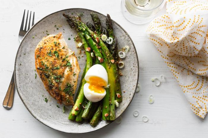 Herbed Chicken Breasts with Asparagus and Mustard Vinaigrette
