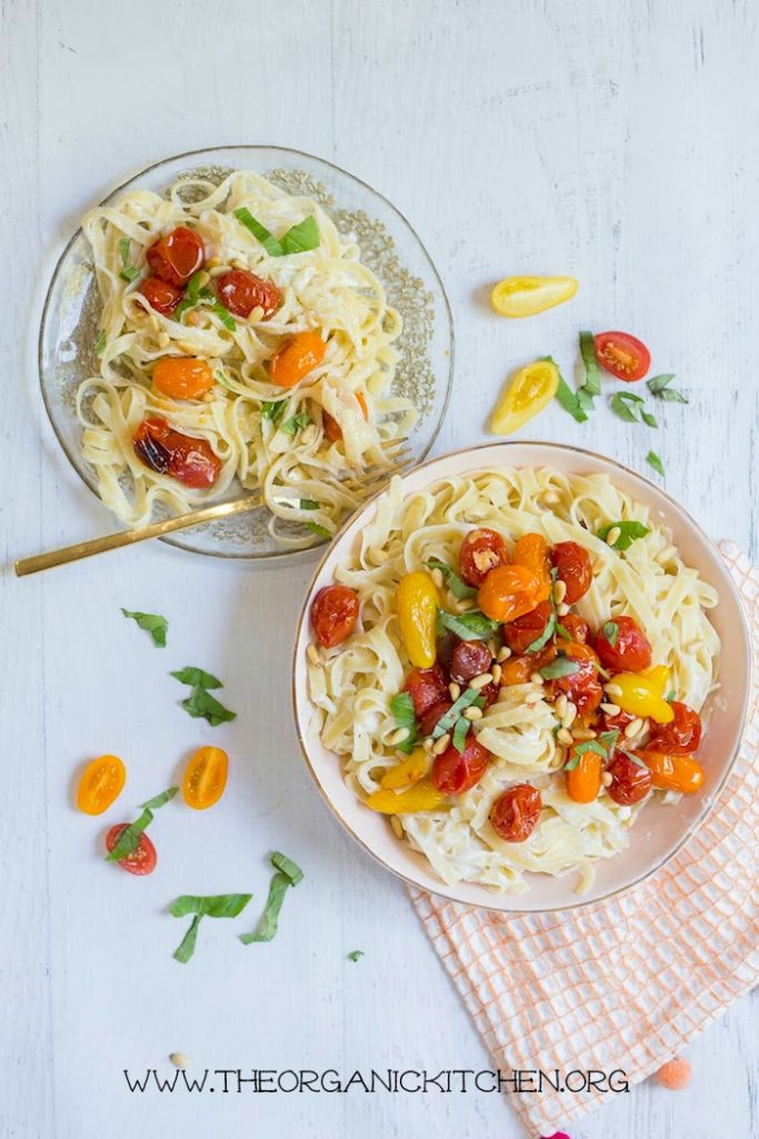 Pasta with Blistered Tomatoes and Ricotta- Gluten free version offered #pasta #blisteredtomatoes #ricotta #glutenfreepasta