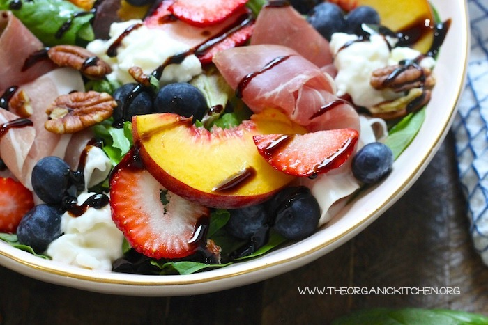 Peach, Berry, Burrata and Prosciutto Salad! #peachsalad #burratasalad #easydinner #glutenfree #balsamic glaze