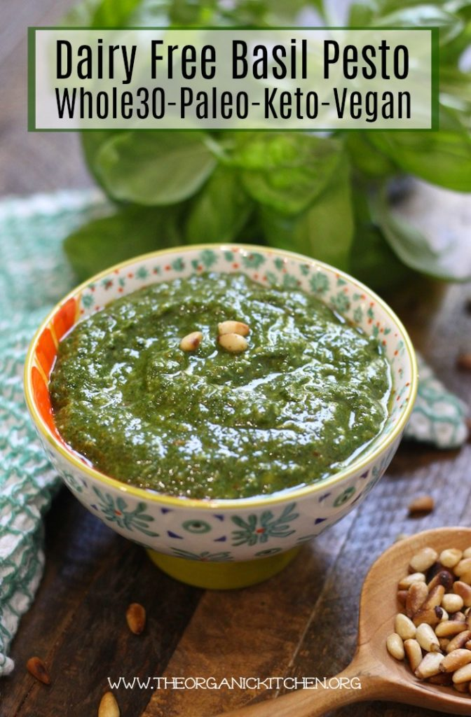 Dairy Free Basil Pesto! (Whole30-Paleo-Keto-Vegan) #pesto #vegan #paleo #whole30 #keto