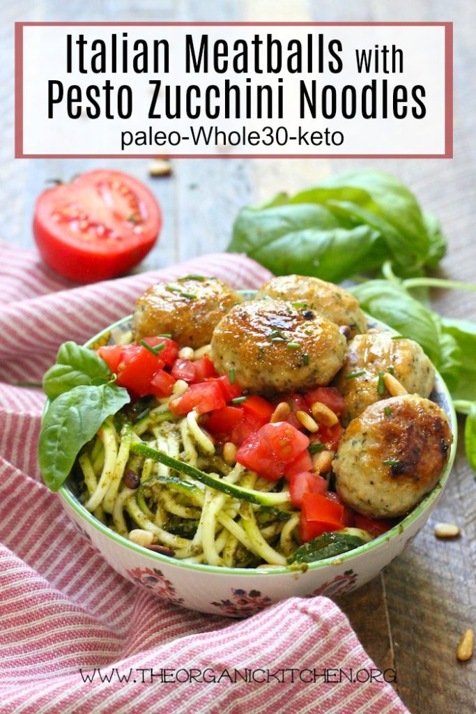 Italian Meatballs with Pesto Zucchini Noodles! (Paleo-Whole30-Keto) #paleo #whole30 #keto #meatballs #zoodles