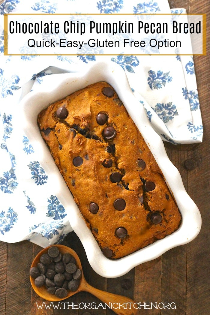 Chocolate Chip Pumpkin Pecan Bread (Gluten free option) #pumpkinbread #glutenfree #chocolatepumpkinbread #glutenfreepumpkinbread