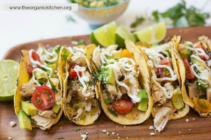 Easy Garlic Lime Chicken Tacos with Lime Crema