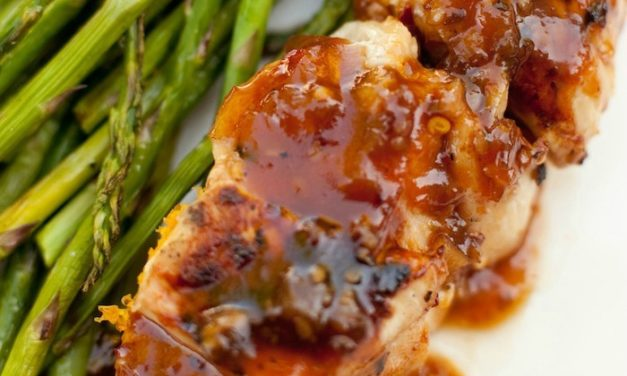 Apricot Sesame Chicken Skewers with Grilled Asparagus